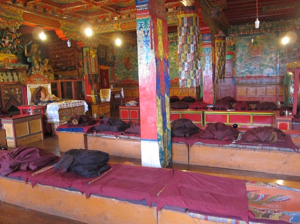 The prayer hall at Tengboche Gompa.